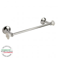 "Century 81745-26W Rose Towel Bar, Polished Chrome With White Roses, 18"" Bar Length"