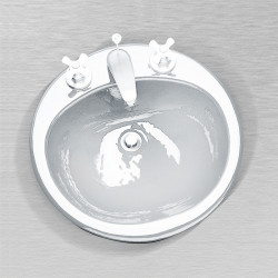 "Ceco 596 Round Lavatory Sink 19""x19"", Self Rimming"