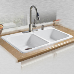 "Ceco 725 Self Rimming Double Bowl Kitchen Sink 33""x22""x7.5"""