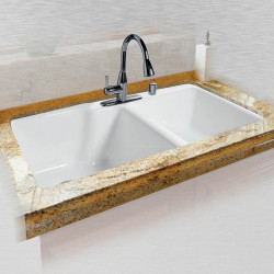 "Ceco 737 Offset Tile Edge Kitchen Sink 36""x22""x10"", Extra Deep-High-Low Double Bowl"