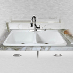 "Ceco 743 Self Rimming Kitchen Sink 43""x22""x10"", Double Bowl"