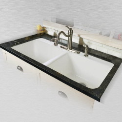 "Ceco 744 Tile Edge Kitchen Sink 43""x22""x10"", Double Bowl"