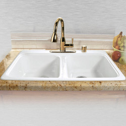 "Ceco 746 Self Rimming Kitchen Sink 33""x22""x9 3/4"", Double Bowl"