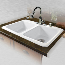 "Ceco 747 Self Rimming Kitchen Sink 33""x22""x9"", Double Bowl"