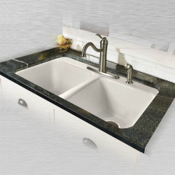 "Ceco 748 Tile Edge Kitchen Sink 33""x22""x9"", 5 Faucet Holes Double Bowl"