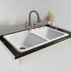 "Ceco 767 Self Rimming Kitchen Sink 33""x22""x10.75"", Offset Double Bowl"