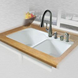 "Ceco 768 Tile Edge Kitchen Sink 33""x22""x10.75"", Offset Double Bowl"