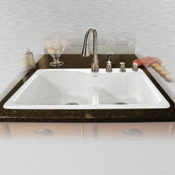 "Ceco 775 Offset Self Rimming Kitchen Sink, 33""x22""x9.75"", Double Bowl"