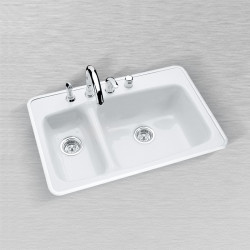 "Ceco 777 Kitchen Sink, 33""x22""x9"", Self Rimming, High-Low Double Bowl"