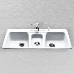 "Ceco 797 Kitchen Sink, 43""x22""x8"", Self Rimming, Triple Bowl"