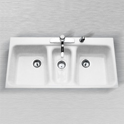 "Ceco 798 Tile Edge Kitchen Sink, 42""x21""x8"", Triple Bowl"