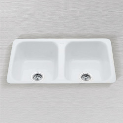 Ceco 730 Flat Rim Undercounter Mount Kitchen Sink, Double Bowl