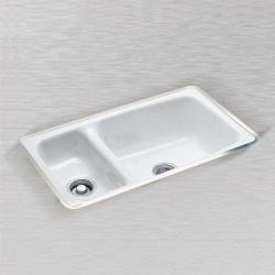 "Ceco 732-UM Hi-Low Undercounter Mount Kitchen Sink, 32""x18""x9"", High-Low Double Bowl"