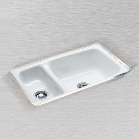 "Ceco 732-UM Hi-Low Undercounter Mount Kitchen Sink, 32""x18""x9"", High-Low Double Bowl"