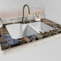 "Ceco 735-UM Offset Undermount Kitchen Sink, 33""x22""x10"", High-Low Double Bowl"