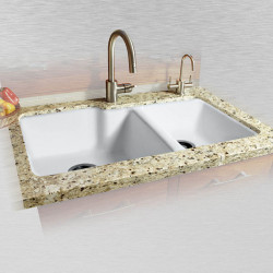 "Ceco 737-UM Offset Undermount Kitchen Sink, 36""x22""x10"", High-Low Double Bowl"