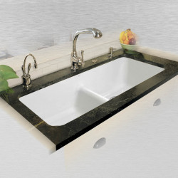 "Ceco 744-UM-LD Low Dam Double Bowl Undermount Kitchen Sink, 44""x19.5""x10"""