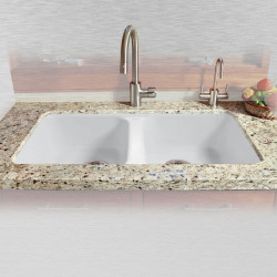"Ceco 746-UM-5 Equal Double Bowl Undermount Kitchen Sink, 33""x22""x9.75"""