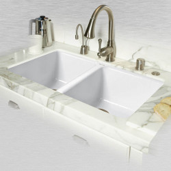 "Ceco 748-UM Double Bowl Undermount Kitchen Sink, 33""x19.5""x9"""