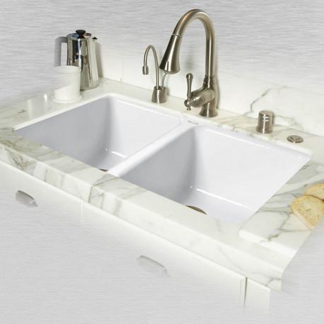 """Ceco 748-UM Double Bowl Undermount Kitchen Sink, 33""""x19.5""""x9"""""""