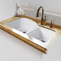 """Ceco 768-UM-4 Offset Double Bowl Undermount Kitchen Sink, 33""""x22""""x10.75"""""""