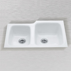 "Ceco 788-UM Undercounter Mount Kitchen Sink, 33""x22""x10"", High-Low Double Bowl"