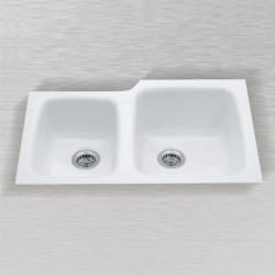"Ceco 788-UM Undercounter Mount Kitchen Sink, 33""x22""x10"", High-Low Double Bowl"