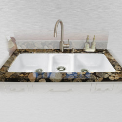 "Ceco 798-UM Triple Bowl Undermount Kitchen Sink, 42""x19""x8"""