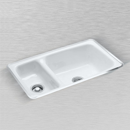 "Ceco 732 High-Low Double Bowl Kitchen Sink, 32""x18""x9"", 3 1/2"" Drain"