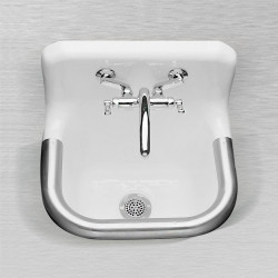 "Ceco 866 Enameled Cast Iron Wall Hung Service Sink, 24"" x 20"", White"