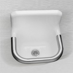 "Ceco 867 Enameled Cast Iron Wall Hung Service Sink 22"" x 18"", White"