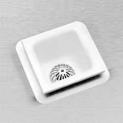 "Ceco 910-1-C/NH Floor Sink with Seepage Flange 12"" X 12"" X 10"", White"