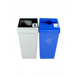 Busch Systems 100848Smart Sort Double Grey, Black, Blue - Mixed Recyclables | Waste