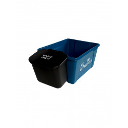 Busch Systems 101419 Office Combo (12 Pack) - Double - Mobius Loop-We Recycle-Waste - Solid Lift - Blue-Black