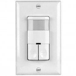 Topgreener TDOS5-JD In-Wall PIR Occupancy/Vacancy Dual Load Motion Sensor Switch, No Neutral Wire Required - White
