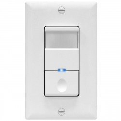 Topgreener TDOS5-J-W, In-Wall PIR Occupancy/Vacancy Motion Sensor Switch, No Neutral Wire Required - White