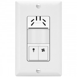 Topgreener TDHOS5-W, In-Wall PIR and Humidity Sensor Switch, Fan and Light Control - White