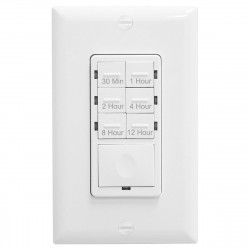 Topgreener HET06-12-W In-Wall Preset Countdown Timer Switch (30 Minutes-12 Hours) - White