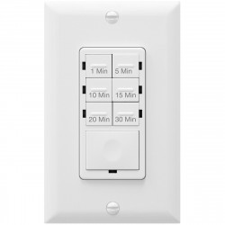 Topgreener HET06A-R-W In-Wall Preset Countdown Timer Switch (1 Minute-30 Minutes) - White