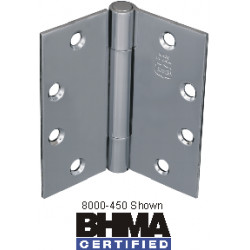 """Bommer 8000-450N Steel 4.5"""" x 4.5"""" Full Mortise Hinge, Standard Weight, Plain Bearing with Steel Pin (Non Removable Pin)"""