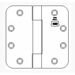 "Bommer 8080 Steel Full Mortise Hinge, Standard Weight, Plain Bearing, 5/8"" Radius Corners with Steel Pin"