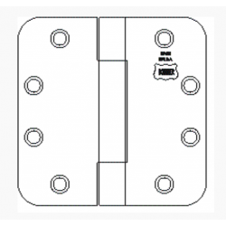 "Bommer 8070 Steel Full Mortise Hinge, Standard Weight, Plain Bearing, 1/4"" Radius Corners with Steel Pin"