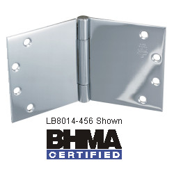 Bommer LB8014 Steel Full Mortise Hinge, Heavy Weight, Lube Bearing, Wide Throw with Stainless Steel Pin