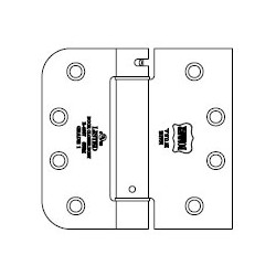 """Bommer LB4333-400 Steel 4"""" x 4"""" 5/8"""" Radius/Square Leaf, Single Acting, Spring Hinges, Special Hinge (For Johnson Integrity)"""