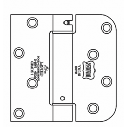 """Bommer LB4377-400 Steel 4"""" x 4"""" 5/8"""" Radius & Square Single Acting Spring Hinges Special Hinge (For Reeb)"""
