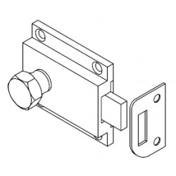 Bommer 15019 RIM BOLT and KEEPER, HANDICAP TYPE HANDLE, Brass Casting Surface Mount, Specify Door Thickness when Ordering