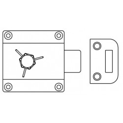 Bommer 15019H RIM BOLT and KEEPER, HANDICAP TYPE HANDLE, Brass Casting Surface Mount, Specify Door Thickness when Ordering