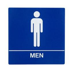 Trimco 5 Restroom Signage, Men, Braille, White on Blue