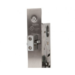 Trimco 1074-2E Barn Door Latchset, Mortise Escutcheon, Privacy w/ Cylinder & Thumbturn
