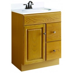 Design House Claremont Oak Vanity, 1 Fake Drawer Face, 2 Drawers, And 1 Door